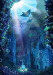 absurdres bubble coral day highres manta_ray no_humans ocean original outdoors ruins scenery school_of_fish statue sumassha_t_t sunlight