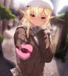 1girl backlighting beret blurry blurry_background blush box breath brown_cardigan cait_aron cardigan closed_mouth commentary_request cowboy_shot dark_elf dark_skin dark_skinned_female day depth_of_field elf grey_scarf grey_skirt hand_on_own_chest hat heart-shaped_box hololive looking_at_viewer outdoors outstretched_arm plaid plaid_scarf plaid_skirt pleated_skirt pointy_ears pov red_eyes scarf shiranui_flare skirt smile solo valentine virtual_youtuber white_headwear