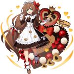 1girl :d android apron bangs bow box box_of_chocolates breasts brown_hair cake candy chocolate chocolate_heart dress food frilled_dress frills full_body gloves green_eyes hair_between_eyes hair_ornament happy_valentine hat heart heart-shaped_box helmet highres iris_(rockman_x) long_hair looking_at_viewer low-tied_long_hair maid maid_apron medium_breasts mizuno_keisuke obligation_chocolate official_art open_mouth ponytail ribbon robot rockman rockman_x rockman_x4 rockman_x_dive smile solo third-party_source tied_hair transparent_background valentine very_long_hair white_gloves