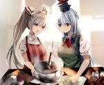 2girls :d :o alternate_hairstyle apron bangs blue_choker blue_dress blue_headwear blurry blurry_background book bow breasts chocolate choker cooking crossed_bangs dress earrings eyebrows_visible_through_hair fujiwara_no_mokou green_apron hair_between_eyes hair_bow hat high_ponytail highres hiiro60 holding holding_spatula indoors jewelry kamishirasawa_keine light_blue_hair light_blush long_hair looking_at_another medium_breasts multiple_girls open_book open_mouth pants pinafore_dress pointing puffy_short_sleeves puffy_sleeves red_apron red_eyes red_neckwear red_pants shirt short_sleeves silver_hair smile spatula star_(symbol) star_print steam striped touhou upper_body vertical_stripes white_bow white_shirt