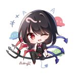 +++ 1girl artist_name asymmetrical_wings black_hair black_shirt black_skirt blue_wings bow bowtie chibi commentary_request demon_tail fang hand_up highres horns houjuu_nue laughing medium_hair one_eye_closed open_mouth polearm pudding_(skymint_028) red_bow red_eyes red_footwear red_neckwear red_wings shirt shoe_bow shoes short_sleeves sitting skin_fang skirt skirt_set smile solo tail touhou trident ufo weapon wings wristband