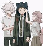 1girl 2boys :d adjusting_hood animal_ears animal_hood arm_up backpack bag bangs blush borrowed_garments brown_eyes brown_hair brown_pants cat_bag cat_ears cat_hood coat collarbone collared_shirt cowboy_shot crossed_arms danganronpa_(series) danganronpa_2:_goodbye_despair fake_animal_ears flipped_hair green_coat green_pants grey_hair hair_ornament hairclip highres hinata_hajime hood hood_up hoodie komaeda_nagito long_sleeves medium_hair multiple_boys nanami_chiaki necktie open_mouth pale_skin pants pink_bag pleated_skirt print_shirt renshu_usodayo shirt shirt_tucked_in short_hair skirt smile spaceship_hair_ornament sweatdrop t-shirt white_hair white_shirt