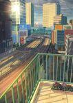 absurdres billboard building cityscape flower_box gingham_vest glint grey_sky highres outdoors railing railroad_tracks rain road shadow skyscraper tenki_no_ko tokyo_(city) train_station