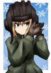 1girl bangs black_gloves black_headwear blonde_hair blue_background blue_eyes bob_cut border closed_mouth commentary eyebrows_visible_through_hair fang frown girls_und_panzer girls_und_panzer_saishuushou gloves green_jumpsuit hand_gesture hands_together helmet highres jumpsuit katyusha_(girls_und_panzer) long_sleeves looking_at_viewer meiya military military_uniform outside_border pravda_military_uniform short_hair snowflake_background solo standing tank_helmet uniform upper_body white_border