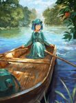 1girl :o apple backpack backpack_removed bag blue_eyes blue_hair blue_headwear blue_shirt blue_skirt blue_sky clouds day fjsmu flat_cap food forest fruit hair_bobbles hair_ornament hat highres kawashiro_nitori key knees_up long_sleeves looking_to_the_side nature oar open_mouth outdoors river rowboat shirt short_hair sitting skirt sky solo touhou tree_branch two_side_up