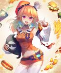 1girl :d artist_name bangs beret breasts collarbone commentary cowboy_shot death-sensei_(mori_calliope) detached_sleeves earrings english_commentary eyebrows_visible_through_hair food fried_chicken gradient_hair hamburger hat hololive hololive_english hot_dog jewelry kfp long_hair looking_at_viewer making-of_available medium_breasts multicolored_hair navel open_mouth orange_hair pink_eyes pizza_slice simple_background smile solo takanashi_kiara takuyarawr thigh-highs virtual_youtuber white_legwear