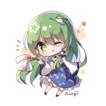 1girl artist_name black_footwear blue_skirt blush chibi collared_shirt commentary_request detached_sleeves eyebrows_visible_through_hair frog_hair_ornament full_body gohei green_eyes green_hair hair_ornament hair_tubes highres holding kochiya_sanae long_hair long_skirt long_sleeves nontraditional_miko notice_lines one_eye_closed pudding_(skymint_028) shirt skirt sleeveless sleeveless_shirt snake snake_hair_ornament solo star_(symbol) star_in_eye symbol_in_eye touhou wide_sleeves