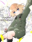1girl bangs black_footwear black_gloves blonde_hair blue_eyes bob_cut boots closed_mouth commentary english_text eyebrows_visible_through_hair floating floral_background girls_und_panzer gloves green_jumpsuit happy_birthday highres insignia jumpsuit katyusha_(girls_und_panzer) long_sleeves looking_at_viewer military military_uniform outstretched_arms pravda_military_uniform short_hair short_jumpsuit smile solo spread_arms streamers uniform vri_(tinder_box)