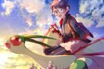 1girl :d absurdres backpack bag bangs brown_bag clouds collaboration commentary_request day dynamax_band flygon gen_3_pokemon glasses gloves hand_up highres holding holding_poke_ball jacket miyama-san open_mouth outdoors partially_fingerless_gloves poke_ball poke_ball_(basic) pokemon pokemon_(creature) pon_yui riding_pokemon short_hair single_glove skirt sky smile tongue zipper_pull_tab