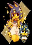 2girls :3 animal_crossing animal_ears ankha_(animal_crossing) bangs black_eyes blonde_hair blunt_bangs blunt_ends blush body_fur breasts cat_ears cat_girl cat_tail colored_skin commentary cropped_legs dress egyptian egyptian_clothes eyeliner groin hair_ornament hand_up highres looking_up makeup multicolored_hair multiple_girls rariatto_(ganguri) short_hair simple_background snake_hair_ornament standing streaked_hair striped_tail tail two-tone_hair usekh_collar violet_eyes white_dress yellow_fur yellow_skin