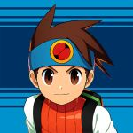 >:) 1boy backpack bag blue_background brown_eyes brown_hair headband hikari_netto male_focus mizuno_keisuke official_art rockman rockman_exe rockman_x_dive short_hair smile solo spiky_hair third-party_source vest