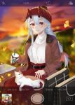 1girl absurdres alternate_costume alternate_hairstyle animal_on_lap bag belt bench black_belt blush braid brown_coat camera_phone casual cat cat_on_lap coat contemporary cup fate/grand_order fate_(series) fox_(user_svjz5723) hair_between_eyes highres holding holding_cup horns horns_through_headwear leaf long_hair long_skirt looking_at_viewer oni_horns open_clothes open_coat outdoors red_eyes red_headwear red_skirt silver_hair single_braid sitting sitting_on_bench skirt smile solo sunset sweater tomoe_gozen_(fate) viewfinder white_sweater
