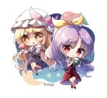 +_+ 2girls artist_name black_footwear blonde_hair blush bow chibi collared_shirt commentary_request crescent_moon crossed_legs dress dress_shirt eyebrows_visible_through_hair eyes_visible_through_hair food fruit hair_bow hand_on_own_cheek hand_on_own_face hat hat_bow highres holding long_hair long_sleeves mob_cap moon multiple_girls open_mouth peach pink_bow ponytail pudding_(skymint_028) puffy_short_sleeves puffy_sleeves purple_dress purple_hair red_dress red_eyes red_footwear shirt short_sleeves siblings sisters star_(symbol) strap_slip touhou watatsuki_no_toyohime watatsuki_no_yorihime wavy_hair white_headwear white_shirt yellow_bow yellow_eyes