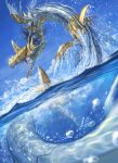 clouds commentary_request day digimon highres metalseadramon no_humans open_mouth outdoors partially_underwater_shot pokemon_(creature) sharp_teeth sky solo spareribs sparkle teeth water water_drop