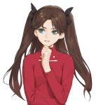 1girl black_ribbon brown_hair fate/stay_night fate_(series) green_eyes hand_on_own_chin heleif highres long_hair looking_to_the_side parted_lips ribbon solo thinking tohsaka_rin turtleneck twintails white_background