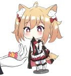 1girl ahoge animal_ear_fluff animal_ears arknights artist_name black_cape black_gloves black_shirt boots bow brown_hair candy_wrapper cape closed_mouth cross-laced_footwear finger_to_mouth food gloves hair_bow holding holding_food kurotofu lace-up_boots layered_skirt long_sleeves out_of_frame pantyhose pleated_skirt red_bow red_neckwear red_skirt shadow shirt sidelocks skirt solo_focus sora_(arknights) standing tail twintails white_background white_footwear white_gloves white_legwear white_skirt wide_sleeves