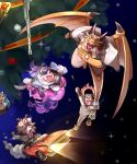 1girl 5boys aizen_(tokyo_houkago_summoners) animal_ears ashigara_(tokyo_houkago_summoners) bear_boy bear_ears breath character_request christmas dragon_boy dragon_horns dragon_wings floating formal full_body furry highres horns mohawk monster_boy multiple_boys ophion_(tokyo_houkago_summoners) scales snow suit sumi_wo_hakuneko tokyo_houkago_summoners wings