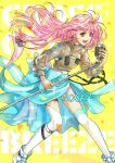 1girl :d akira_ituki blue_bow blue_skirt bow floating_hair garter_straps green_eyes holding holding_microphone_stand long_hair long_sleeves macross macross_7 microphone_stand mylene_jenius open_mouth pink_hair shiny shiny_hair skirt smile solo standing thigh-highs thigh_strap very_long_hair white_legwear yellow_background