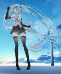1girl absurdly_long_hair aqua_eyes aqua_hair aqua_neckwear bare_shoulders black_legwear black_skirt black_sleeves blue_sky boots clouds commentary detached_sleeves full_body hair_ornament hand_up hatsune_miku hatsune_miku_(vocaloid4) highres long_hair looking_to_the_side miniskirt necktie outdoors pleated_skirt shading_eyes shirt shirubaa skindentation skirt sky sleeveless sleeveless_shirt smile solo standing sunrise thigh-highs thigh_boots twintails twitter_username v4x very_long_hair vocaloid white_shirt wind_turbine zettai_ryouiki