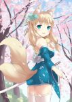 animal_ears azur_lane bell bell_collar blonde_hair blue_eyes cherry_blossoms collar hair_ornament harusaki_(harusaki0719) niizuki_(azur_lane) sword tail thigh-highs weapon