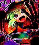 1girl :d bangs collared_shirt commentary_request eyeball eyebrows_visible_through_hair eyes_visible_through_hair feet_out_of_frame green_hair green_skirt hair_between_eyes hand_print hashimoto_kentarou_(hip_hoppy) hat hat_ribbon heart heart_of_string highres komeiji_koishi long_sleeves looking_at_viewer open_mouth ribbon shirt short_hair skirt smile solo spiral_eyes third_eye touhou violet_eyes yellow_shirt