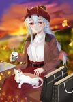 1girl absurdres alternate_costume alternate_hairstyle animal_on_lap bag belt bench black_belt blush braid brown_coat casual cat cat_on_lap coat contemporary cup fate/grand_order fate_(series) fox_(user_svjz5723) hair_between_eyes highres holding holding_cup horns horns_through_headwear leaf long_hair long_skirt looking_at_viewer oni_horns open_clothes open_coat outdoors red_eyes red_headwear red_skirt silver_hair single_braid sitting sitting_on_bench skirt smile solo sunset sweater tomoe_gozen_(fate) white_sweater