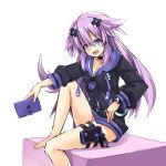 1girl adult_neptune barefoot blush breasts choker d-pad d-pad_hair_ornament hair_between_eyes hair_ornament himajin_(starmine) holster hood hooded_jacket jacket long_hair looking_at_viewer medium_breasts neptune_(series) shin_jigen_game_neptune_vii simple_background sitting smile solo thigh_holster unzipped white_background