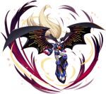 1boy absolute_zero android bat_wings blonde_hair blue_eyes claws cybernetic fingernails forehead_jewel full_body gem helmet highres jewelry long_fingernails long_hair looking_at_viewer mizuno_keisuke official_art powering_up robot rockman rockman_x rockman_x_command_mission rockman_x_dive serious sharp_fingernails smirk solo third-party_source very_long_hair wing_ornament wings zero_(rockman)