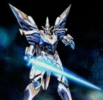 cropped_legs edge_dragoon energy_sword floating glowing glowing_eyes highres holding holding_sword holding_weapon looking_at_viewer mecha no_humans open_hand science_fiction solo space sword vandread vandread_dita weapon