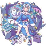 1girl absurdres animal_hood bloop_(gawr_gura) blue_eyes blue_hair blue_hoodie blue_legwear blush breasts bubble character_name commentary cross-laced_footwear english_commentary eyebrows_visible_through_hair eyelashes fish fish_tail full_body gawr_gura halo highres holding holding_weapon hololive hololive_english hood hood_up hoodie long_sleeves looking_at_viewer meatbandit medium_hair multicolored_hair open_mouth polearm shark shark_hood shark_tail sharp_teeth shoes silver_hair sleeves_past_wrists small_breasts smile sneakers socks standing starfish streaked_hair tail tako_(ninomae_ina'nis) teeth trident two-tone_hair virtual_youtuber water weapon white_footwear