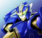 earth_granner_eagle_shark glowing glowing_eyes gradient gradient_background green_eyes head_tilt highres looking_at_viewer mecha no_humans science_fiction solo stg_stg super_robot tomica_kizuna_gattai_earth_granner upper_body