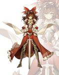 adapted_costume armor armored_boots boots bow breasts bright_pupils brown_eyes brown_hair detached_sleeves full_body gauntlets hair_bow hair_tubes hakurei_reimu hare_(yamihuji) long_hair looking_at_viewer medium_breasts planted_sword planted_weapon red_bow red_shirt red_skirt shide shirt shoulder_armor skirt smile sword tabard touhou weapon white_background white_pupils wide_sleeves zoom_layer