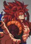 bangs bare_pecs biceps blue_eyes brown_fur clenched_teeth dragon_ball dragon_ball_gt foreshortening fusion fusion_dance gogeta grin highres looking_at_viewer metamoran_vest monkey_boy monkey_tail no_nipples open_hand outstretched_arm reaching redhead relio_db318 smile smirk solo spiky_hair super_saiyan super_saiyan_4 tail teeth veiny_hands