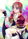 1boy :3 apple bangs black_gloves black_wings blue_eyes brown_hair capelet closed_eyes closed_mouth commentary_request dated drops_(ragnarok_online) eizennn eyebrows_visible_through_hair eyes_visible_through_hair feet_out_of_frame fingerless_gloves flower food fruit fur-trimmed_capelet fur_trim gloves hair_flower hair_ornament hairband high_collar high_wizard_(ragnarok_online) looking_to_the_side pants parted_bangs ragnarok_online red_capelet red_flower red_hairband shirt short_hair signature sitting slime_(creature) white_pants white_shirt wings