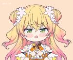 1girl angry arm_garter bare_arms bare_shoulders bell blonde_hair blush bow bowtie chibi commentary detached_sleeves double_bun embarrassed english_commentary eyebrows_visible_through_hair flower frilled_shirt frills gradient_hair green_eyes hair_flower hair_ornament hands_on_own_chest highres hololive jingle_bell kukie-nyan long_hair looking_at_viewer momosuzu_nene multicolored_hair multicolored_neckwear neck_bell open_mouth orange_background pink_hair ribbon shirt short_sleeves simple_background sleeveless sleeveless_shirt solo two_side_up upper_body upper_teeth v-shaped_eyebrows virtual_youtuber wrist_ribbon