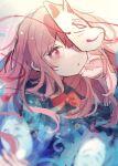 1girl chikuwa_(tikuwaumai_) fox_mask hata_no_kokoro highres mask noh_mask open_mouth pink_eyes pink_hair plaid plaid_shirt shirt touhou