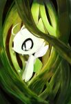 antennae banchiku celebi commentary_request crying fairy fairy_wings from_side gen_2_pokemon glowing green_eyes green_theme highres legendary_pokemon mythical_pokemon plant pokemon pokemon_(anime) pokemon_(classic_anime) pokemon_(creature) pokemon_m04 sad solo tears vines wings