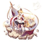1girl :3 absurdres bangs bare_legs belt blonde_hair blue_eyes blush cape chest_guard crown dress flag full_body gloves hair_between_eyes high_belt highres horns jewelry long_hair looking_at_viewer mini_crown multiple_belts nahaki original pendant red_cape shield simple_background single_horn skirt solo standing thighlet very_long_hair wand white_background white_gloves