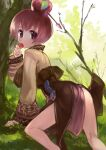 1girl apple_o_archer apple_on_head arrow_(projectile) ass blush brown_jacket brown_skirt commentary_request day eating feet_out_of_frame grass hair_between_eyes jacket kneepits long_sleeves looking_at_viewer looking_back okishiji_en outdoors ragnarok_online red_eyes redhead short_hair skirt solo soul_linker_(ragnarok_online) tree