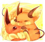 :3 animal_focus banchiku blonde_hair blush blush_stickers border closed_eyes closed_mouth commentary_request flareon fluffy gen_1_pokemon happy hug jpeg_artifacts looking_at_another no_humans nose_blush outside_border pawpads pokemon pokemon_(creature) raichu red_eyes short_hair simple_background sitting smile white_border yellow_background