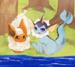:3 animal_focus banchiku blue_eyes brown_eyes closed_mouth commentary_request day eye_contact fang flareon fluffy full_body gen_1_pokemon grass happy jpeg_artifacts looking_at_another no_humans open_mouth outdoors pawpads pokemon pokemon_(creature) river short_hair sitting smile tree vaporeon water wavy_mouth white_hair