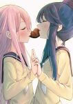 2girls absurdres blue_hair blush candy chocolate chocolate_heart closed_eyes commentary food hair_bun heart highres holding_hands interlocked_fingers kagamihara_nadeshiko kinako_mochi long_hair mouth_hold multiple_girls pink_hair school_uniform shared_food shima_rin simple_background upper_body white_background yuri yurucamp