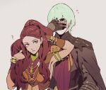 1boy 1girl armor bracelet brown_eyes byleth_(fire_emblem) byleth_(fire_emblem)_(male) byuub covering_face earrings fire_emblem fire_emblem:_three_houses green_eyes green_hair grey_background jewelry long_hair parted_lips petra_macneary ponytail purple_hair short_hair simple_background upper_body