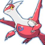 aliasing blue_outline blush blush_stickers chizi claws closed_mouth commentary_request dragon full_body gen_3_pokemon happy latias legendary_pokemon looking_to_the_side no_humans outline pokemon pokemon_(creature) simple_background sketch smile solo white_background wings yellow_eyes
