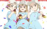 3girls :d backwards_hat baseball_cap blue_shirt brown_eyes brown_hair brown_shorts character_name chocolate commentary_request confetti grin happy_valentine hat hataraku_saibou highres joutarou long_hair looking_at_viewer multiple_girls open_mouth platelet_(hataraku_saibou) shirt short_hair short_shorts short_sleeves shorts smile valentine very_long_hair white_background white_headwear