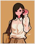 1girl absurdres bag black_hair brown_background brown_bag brown_eyes brown_theme collared_shirt flat_color hand_up highres long_hair long_sleeves mole mole_under_eye multicolored_hair original shirt shirt_tucked_in shoulder_bag simple_background smile solo streaked_hair white_shirt yoshi_mi_yoshi