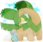 animal_focus bagon banana banchiku black_eyes blue_sky blush clouds commentary_request day eye_contact fang food from_behind fruit full_body gen_3_pokemon green_eyes looking_at_another looking_down looking_up no_humans open_mouth outdoors pokemon pokemon_(creature) size_difference sky standing tropius