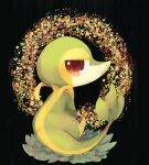 animal_focus banchiku black_background bush closed_mouth commentary_request flower from_behind full_body gen_5_pokemon half-closed_eyes happy looking_at_viewer looking_back no_humans orange_flower pink_flower pokemon pokemon_(creature) red_eyes red_flower sitting smile snivy solo yellow_flower