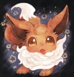 animal_focus banchiku bangs brown_eyes commentary_request eevee fang fluffy full_body gen_1_pokemon grey_background jpeg_artifacts looking_at_viewer no_humans open_mouth pokemon pokemon_(creature) solo star_(symbol) star_in_eye starry_background swept_bangs symbol_in_eye