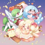 :d alcremie blush choker clothed_pokemon commentary english_commentary gardevoir gen_3_pokemon gen_8_pokemon hattrem highres looking_at_viewer milcery open_mouth pokemon pokemon_(creature) red_eyes ribbon smile star_(symbol) tongue yami11